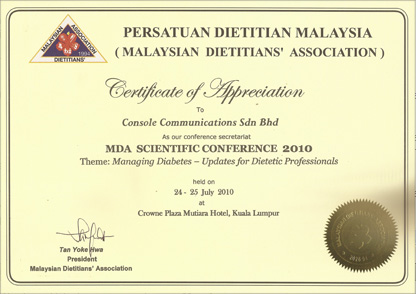 Testi certg certificate of appreciation to console communications sdn bhd yelopaper Image collections